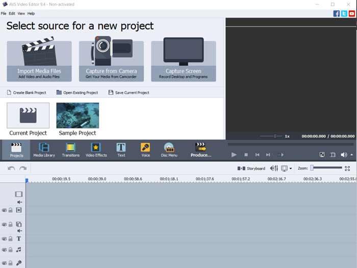 Avs4you Editor homescreen