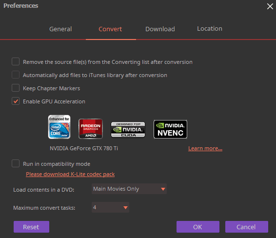 Wondershare Uniconverter gpu option