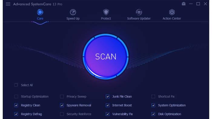 Advanced Systemcare 13 Pro Homescreen