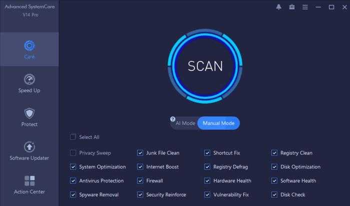Advanced SystemCare Pro Homescreen