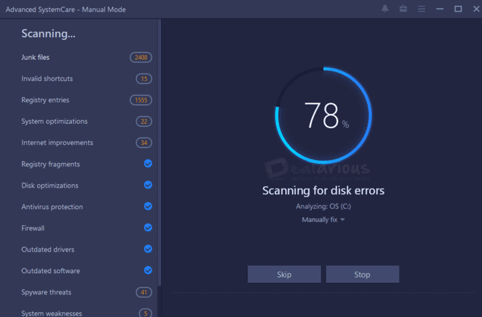 Advanced Systemcare Pro scan