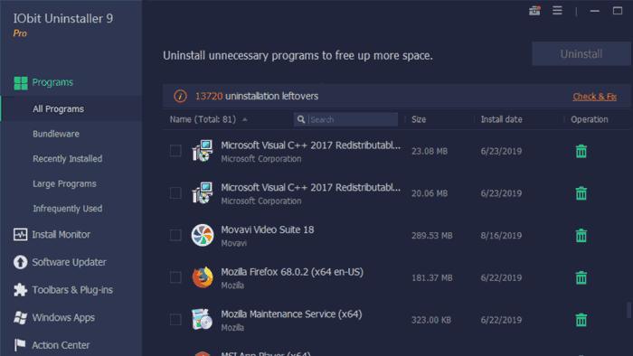iobit uninstaller 9 pro removal list