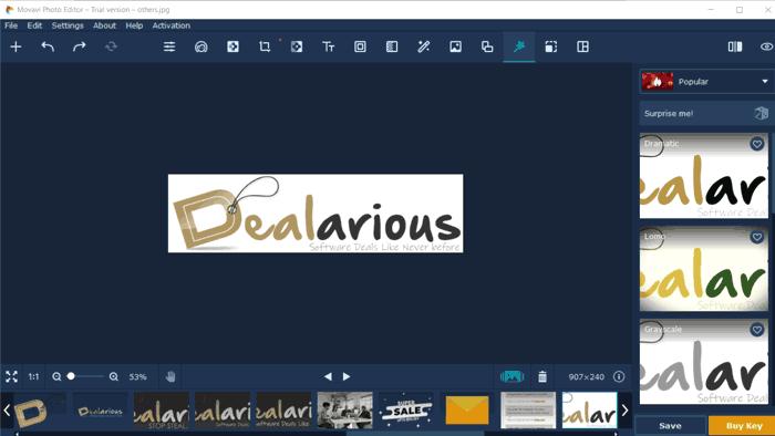 Movavi Photo Editor Editing Screen