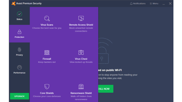 Avast Premier Security Options